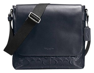 Coach Cross Body File Laptop Charles Messenger Midnight blue signature Messenger Bag