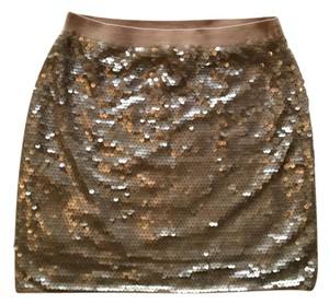 BCBGMAXAZRIA Stretchy Mini Skirt Sequin Rose gold