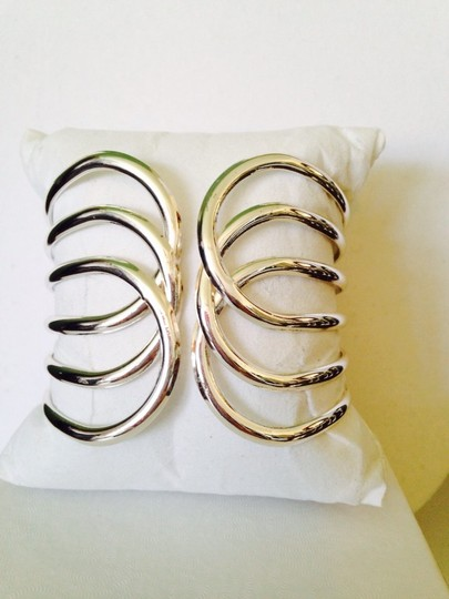 My Closet- Embellished by Leecia Silver-Tone Open Cuff Hinged Bracelet