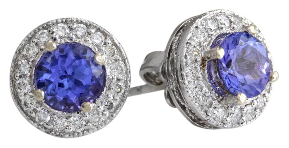3fe798d485b57 White Gold 2.45ct Natural Tanzanite & Diamond 14k Solid Stud Earrings 79%  off retail