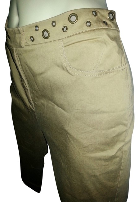 Peter Nygard Comfortable Stretchy Brass Ring Accents Khaki/Chino Pants Khaki Image 0