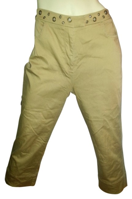 Peter Nygard Comfortable Stretchy Brass Ring Accents Khaki/Chino Pants Khaki Image 1