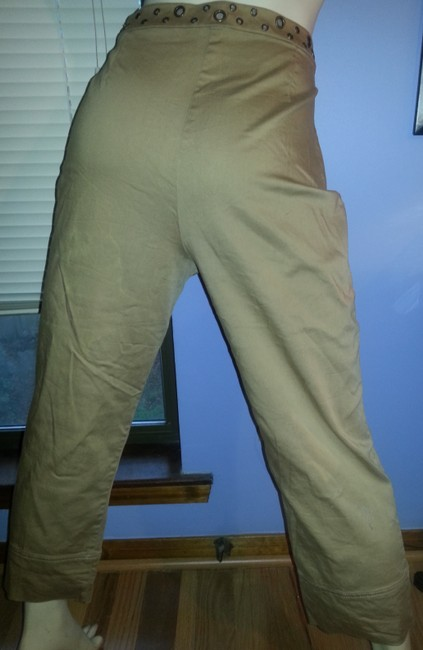 Peter Nygard Comfortable Stretchy Brass Ring Accents Khaki/Chino Pants Khaki Image 3