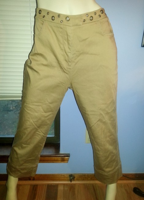 Peter Nygard Comfortable Stretchy Brass Ring Accents Khaki/Chino Pants Khaki Image 6