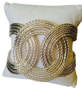 My Closet- Embellished by Leecia Silver-Tone Open Cuff Swirl Chain Bracelet