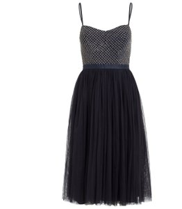 BHLDN Navy Tulle and Beading Needle Thread Coppelia Modern Bridesmaid/Mob Dress Size 0 (XS)
