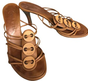 Chanel Brown Leather Heels Sandals