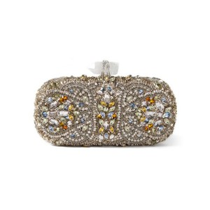 Marchesa Evening Beaded Sequin Crystal silver Clutch