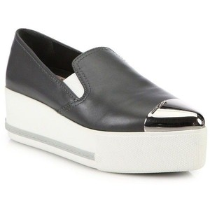 Miu Miu Sneakers Metallic Hardware Slip On Sneaker Dark Grey Platforms