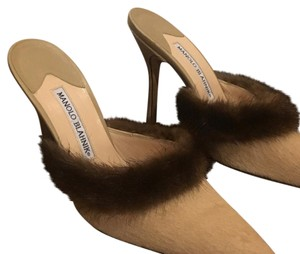 Manolo Blahnik Taupe with Fur Trim Mules