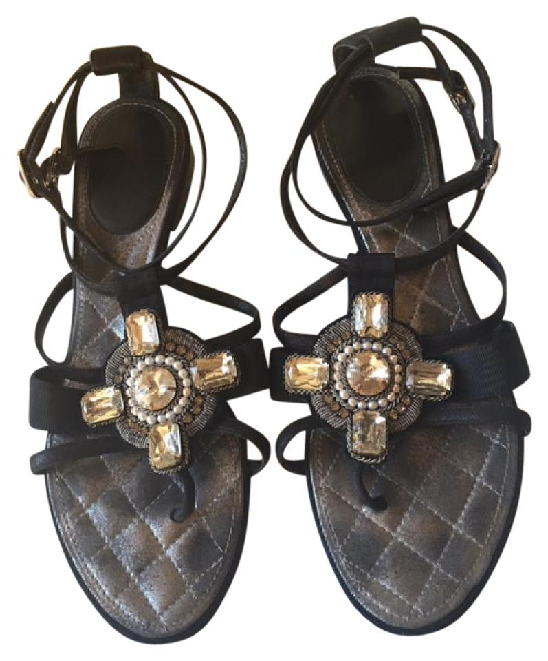 Chanel Strappy Pearl Jeweled Flats Ankle Strap black Sandals Image 0 ...