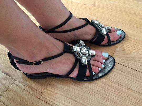 Chanel Strappy Pearl Jeweled Flats Ankle Strap black Sandals Image 11