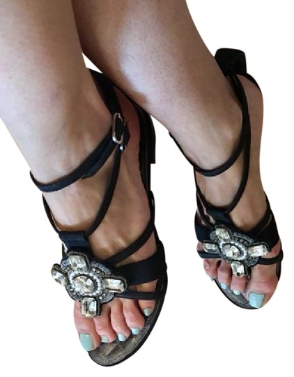 Chanel Strappy Pearl Jeweled Flats Ankle Strap black Sandals Image 2