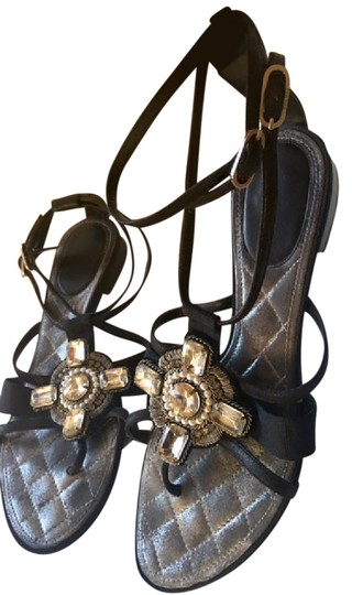 Chanel Strappy Pearl Jeweled Flats Ankle Strap black Sandals Image 3