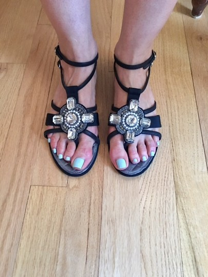 Chanel Strappy Pearl Jeweled Flats Ankle Strap black Sandals Image 5