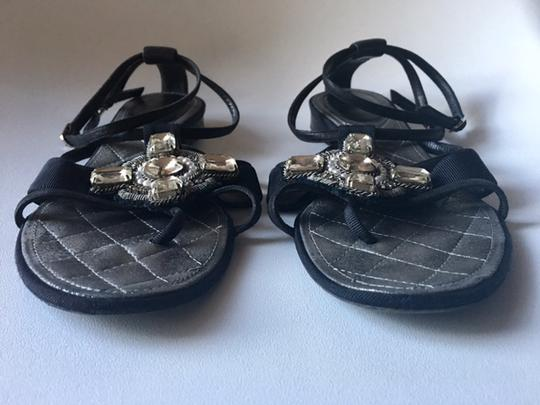 Chanel Strappy Pearl Jeweled Flats Ankle Strap black Sandals Image 6