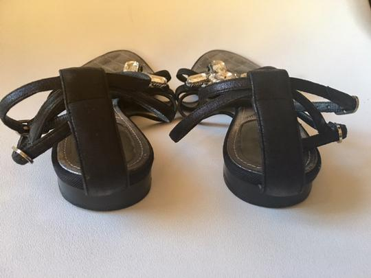 Chanel Strappy Pearl Jeweled Flats Ankle Strap black Sandals Image 8