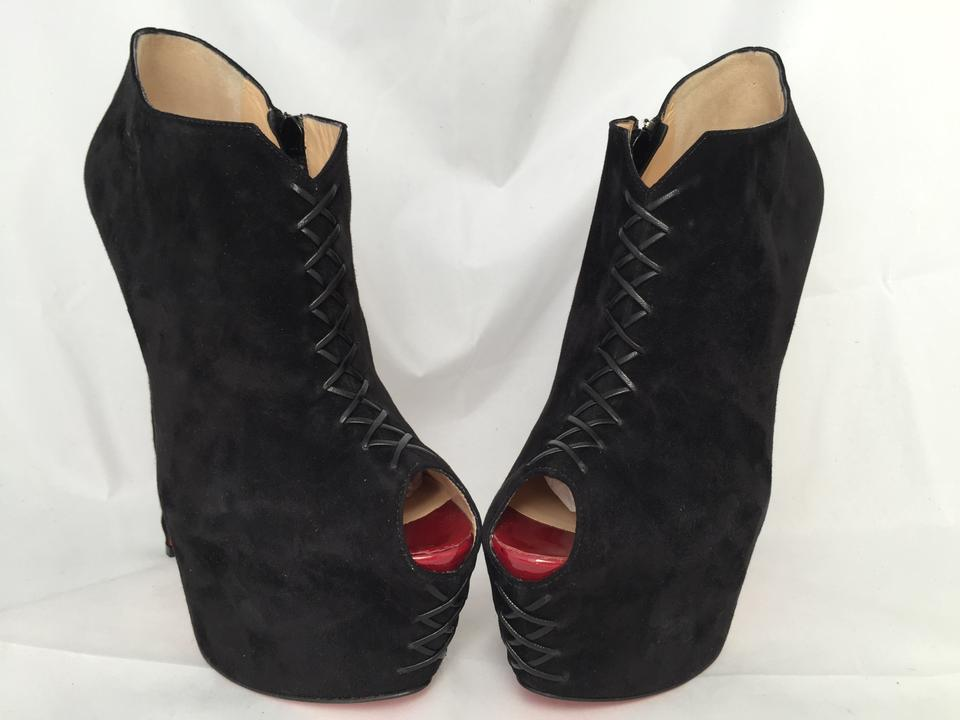 e8e787a5edf Christian Louboutin Black 39it New Recouzetta Platform High Heel Lady Daff  Red Alti Suede Ankle Boots/Booties Size EU 39 (Approx. US 9) Regular (M, B)  ...