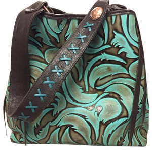 Double J Tote in brown and turquoise