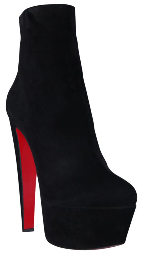 da3897bef02 Christian Louboutin Black New 40.5it Fierce Suede Platform Daffodile High  Heel Red Sole Ankle Boots Booties