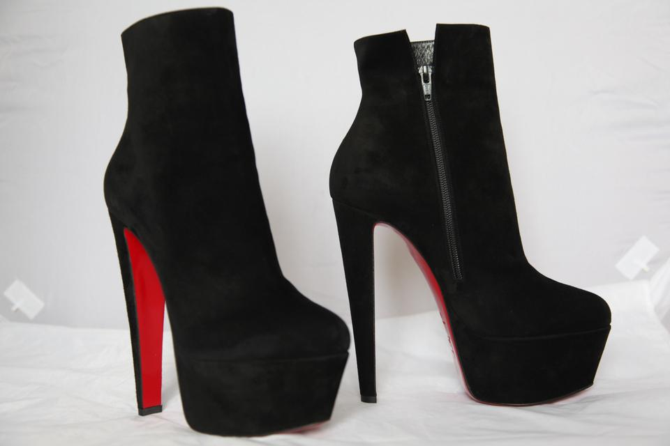 f0532d3bf897 Christian Louboutin Black New 40.5it Fierce Suede Platform Daffodile High  Heel Red Sole Ankle Boots Booties Size EU 40.5 (Approx. US 10.5) Regular  (M