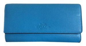 Coach Coach F53708 Pebbled Leather Trifold ID Wallet Azure $250