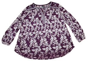 Lucky Brand Floral Embroidered Modal Longsleeve All Seasons Top PURPLE
