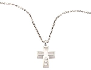 Chopard Happy Diamonds 18K White Gold Cross Pendant & Chain Necklace Box