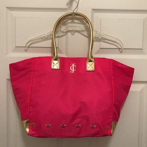 Juicy Couture Travel Handbag Tote in Pink Black Gold