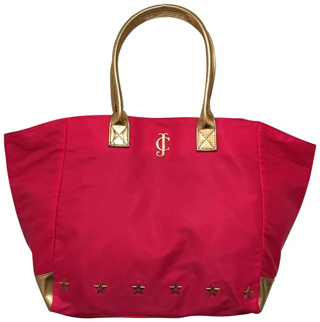 Item - Nwot Never & Faux Leather Pink Black Gold Nylon Tote