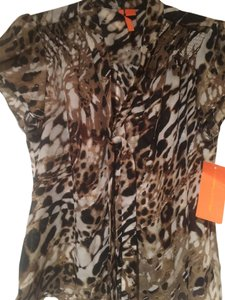 Nordstrom Top Brown, black and white animal print