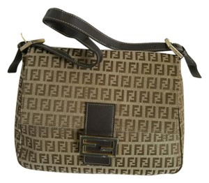 Fendi Zukka Monogram Canvas Leather Shoulder Bag