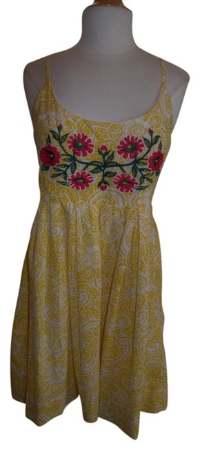 Item - Yellow Embroidery Floral Sunny Cute M Southern Bell Short Casual Dress Size 10 (M)