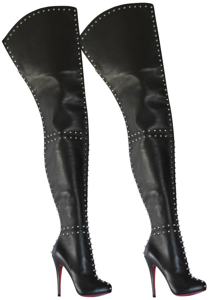 f64d73b91771 Christian Louboutin Thigh High Heel Platform Over The Knee Black Boots  Image 0 ...