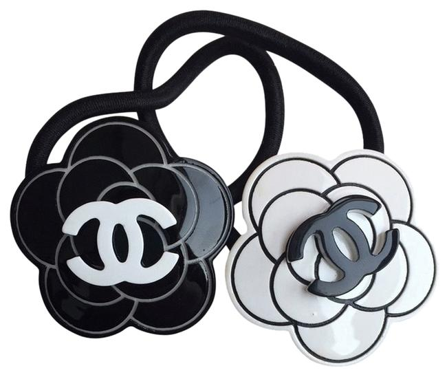 Item - Black and White Camellia Flower Ties - Set Of 2 Hair Accessory