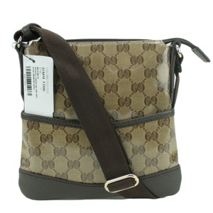 Gucci Crystal Canvas 374416 Messenger Cross Body Bag