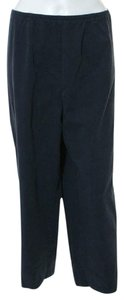 Eileen Fisher Capri/Cropped Pants Navy Blue Cotton Twill