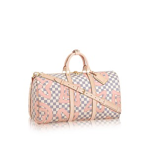 Louis Vuitton Damier Azur Keepall Cream/Pink/ Tahitienne Travel Bag
