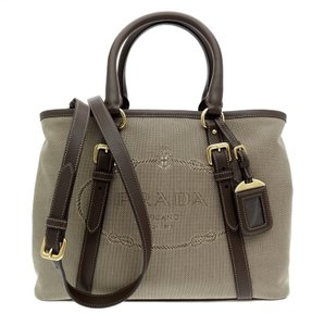 Prada Satchel Tote Jacquard Canvas Bn2832 Shoulder Bag