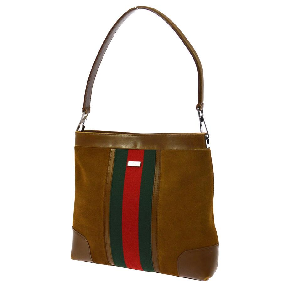 Gucci Chrome Hardware Red Green Handle Rare Vintage Style Suede Leather Hobo Bag