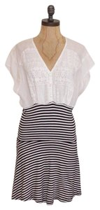 Free People short dress BLACK AND WHITE Striped Combo Twoffer on Tradesy
