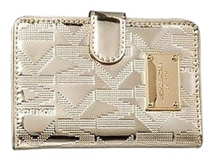 Michael Kors JS Passport Travel Wallet Card Case NWT Logo Metallic Pale Gold