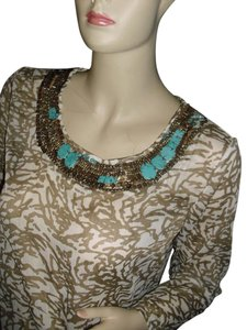 Chico's Top turquoise & taupe