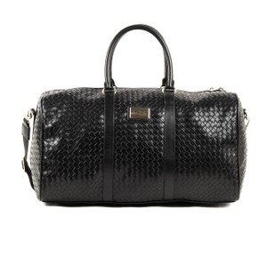 Versace 19.69 Checkered Print Contrast Gold Hardware Luggage Black Travel Bag