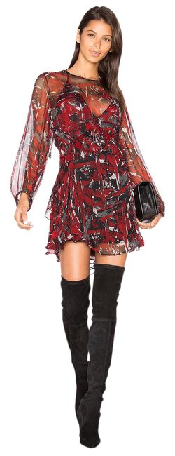 Item - Red Patterned Short Casual Dress Size 2 (XS)