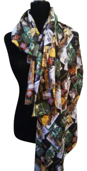 "Item - Multi Color/Black 42"" Silk Wells Fargo Print Scarf/Wrap"