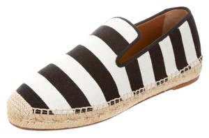 Cline Striped Beach Summer Espadrille Sandal Black white Flats