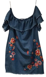 Jealous Tomato short dress denim with floral print embroidered on Tradesy