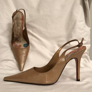 Sergio Zelcer Slingback Leather Formal Snakeskin Python Shimmering Beige Pumps