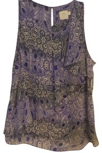 Anthropologie Top Blue black and white